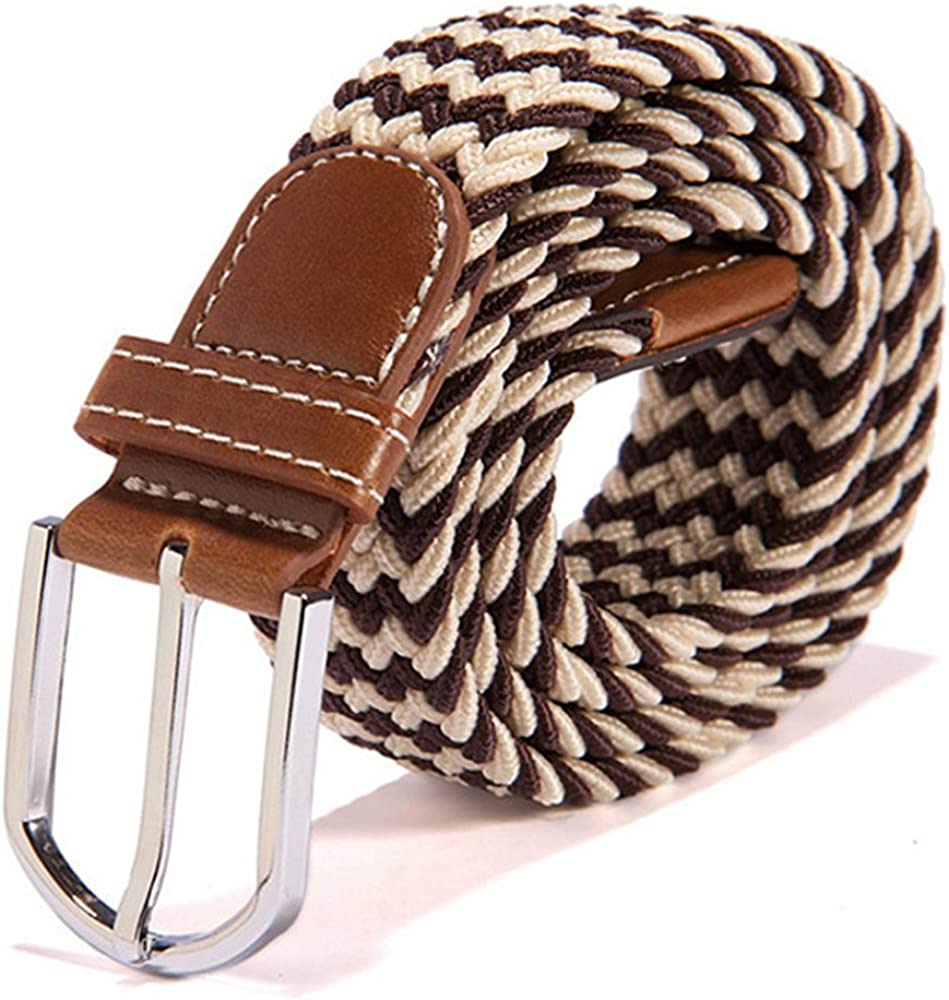 ZFADDS Unisex Canvas Woven Leather Pin Buckle Elastic Waist Belt Men Women Waistband