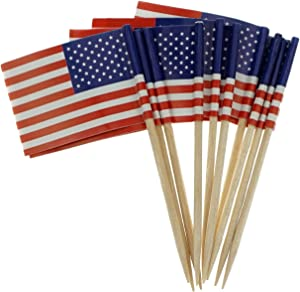 Bilipala American Flag Cupcake Toppers Picks for Party Decorations Supplies, Toothpick Flags, 150 Counts