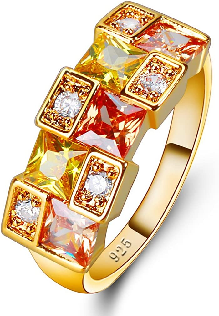 YAZILIND Cubic Zirconia Anillo Rhinestone Chapado en Oro joyería de la Boda para Las Mujeres