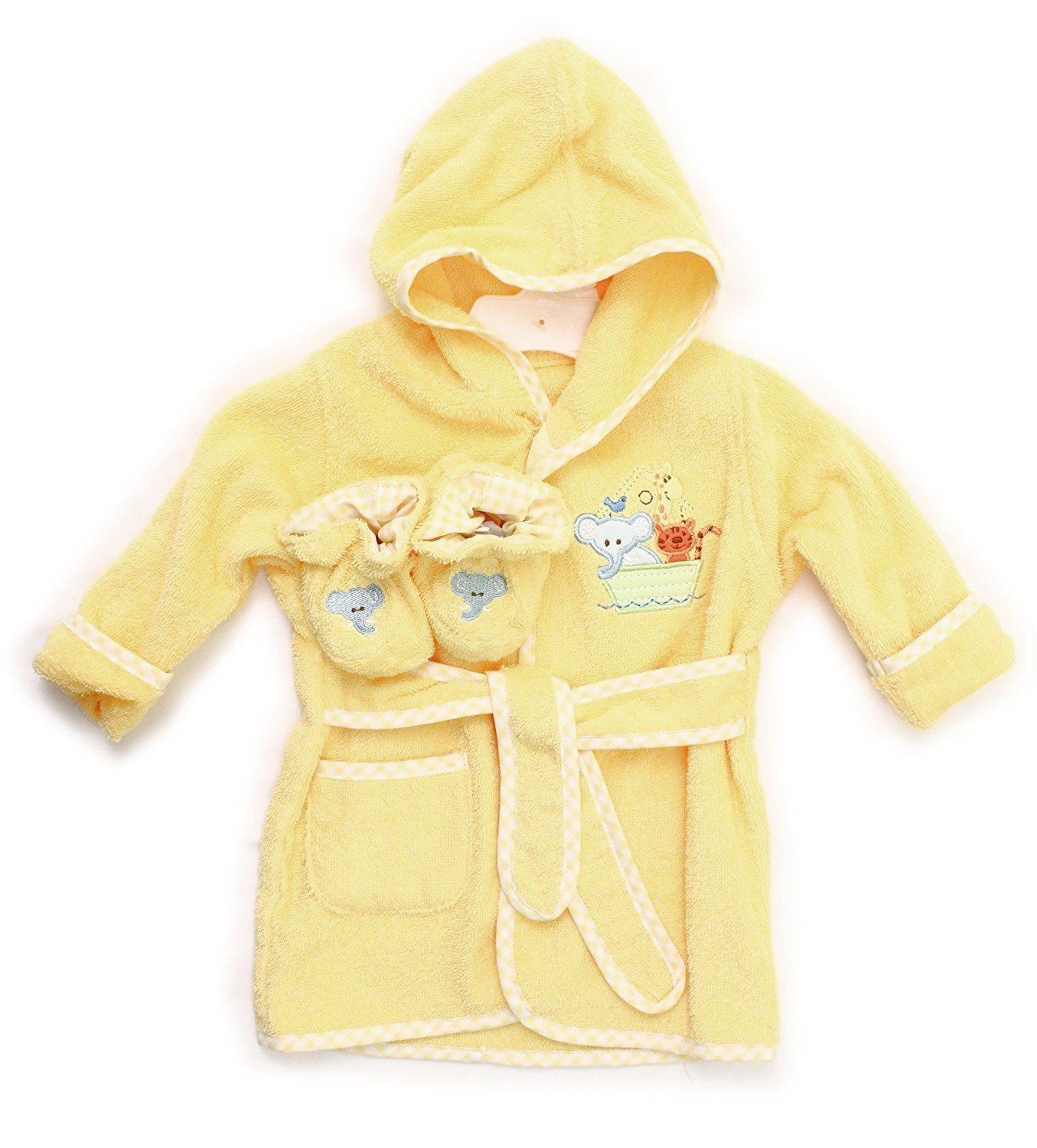 Spasilk 100% Cotton Hooded Terry Bathrobe with Booties, Grey Zebra Blue Whale 0-9 Months BR W02