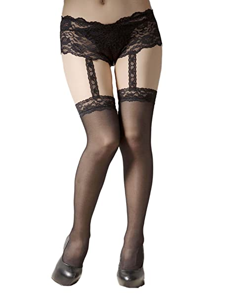 2ea36ad57bb10 Amazon.com  Sexy Plus Size Attached Boyshort Garter Belt Stockings Hosiery-  Fits size 16-20  Clothing