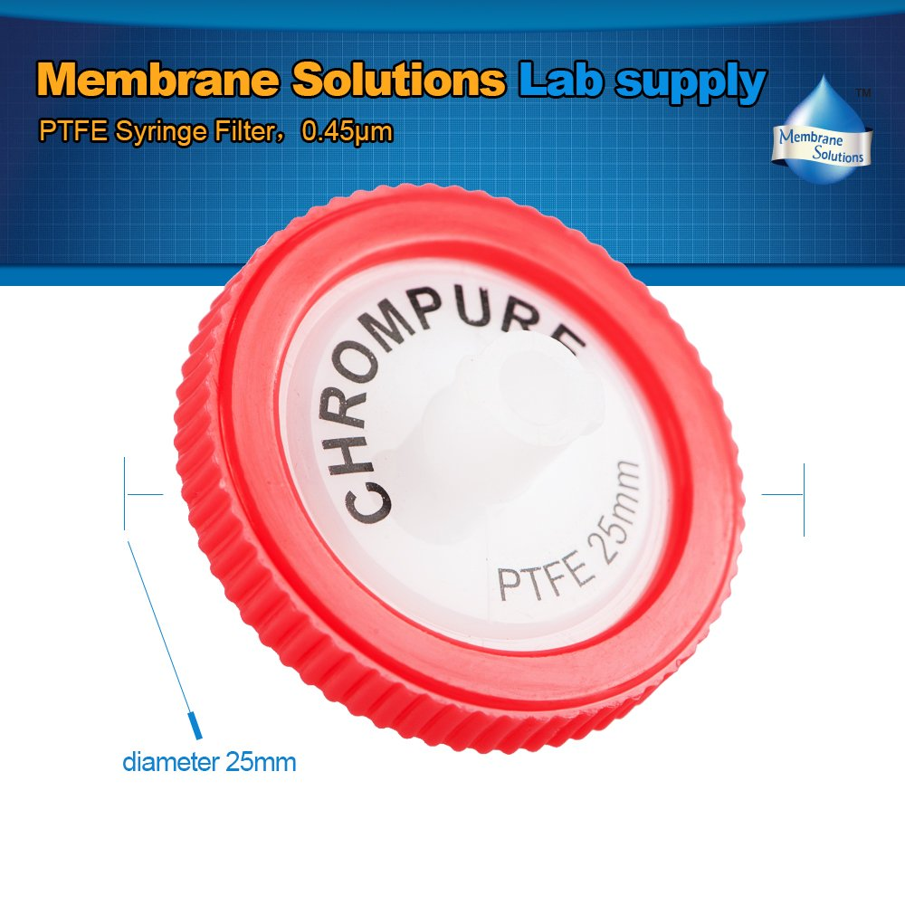 Syringe Filter Membrane Solutions Lab Supply Filter PTFE,0.45 micron Pore Size,25mm Diameter,Pack of 10
