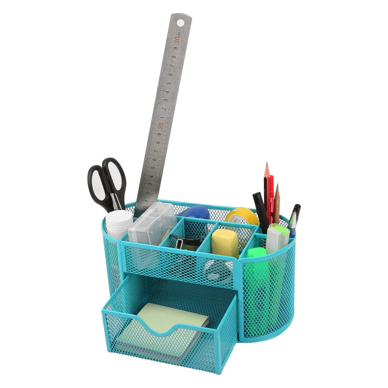 TeqHome - Organizer da scrivania in rete a 9 scomparti, organizer da scrivania in metallo, salvaspazio, con cassetto portapenne Green