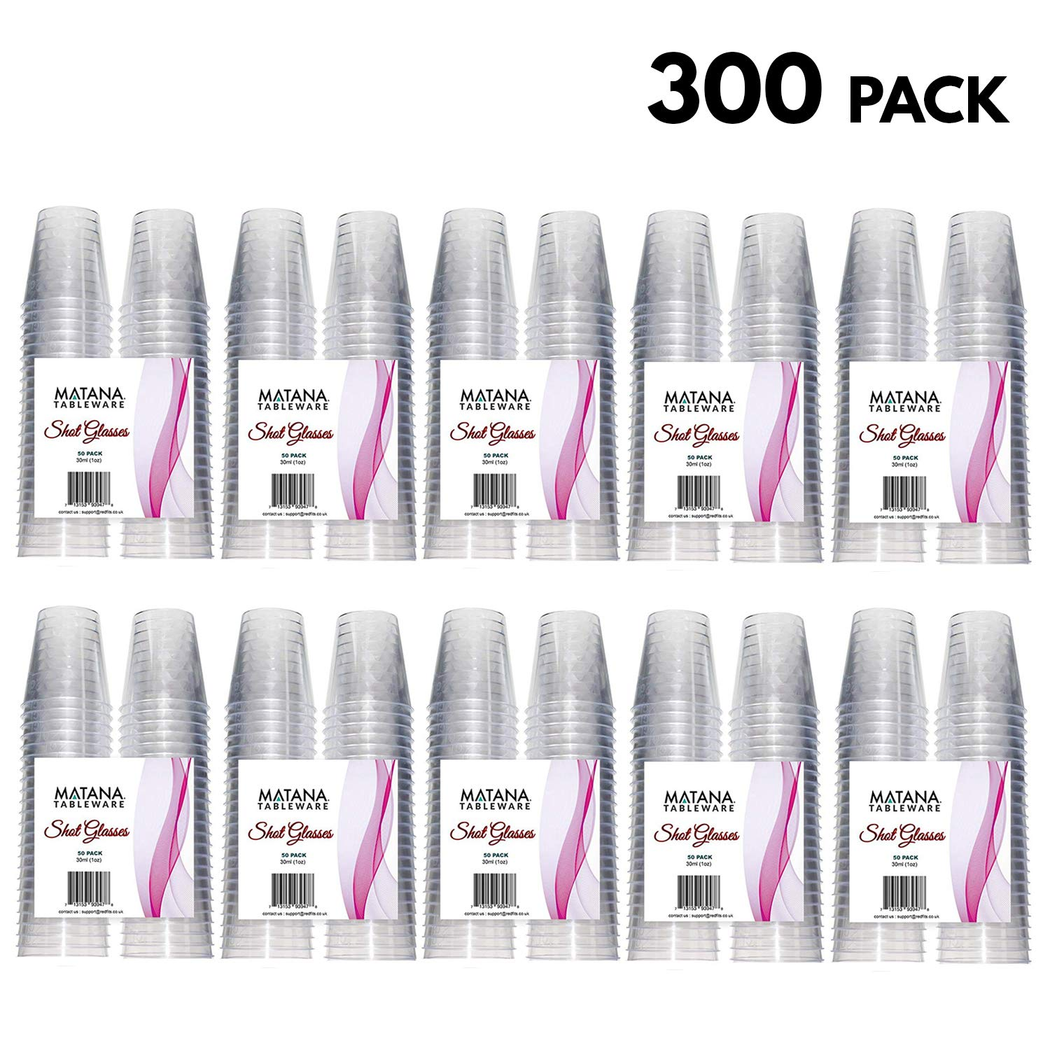 30ml Disposable Hard Plastic Shot Glasses – Perfect for Shots and Vodka Jelly at Christmas Parties (300 Pack)