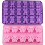 Puppy Hund Pfotenabdruck und Knochen Tabletts Silikon Haustier Treat Formen, Set von 2