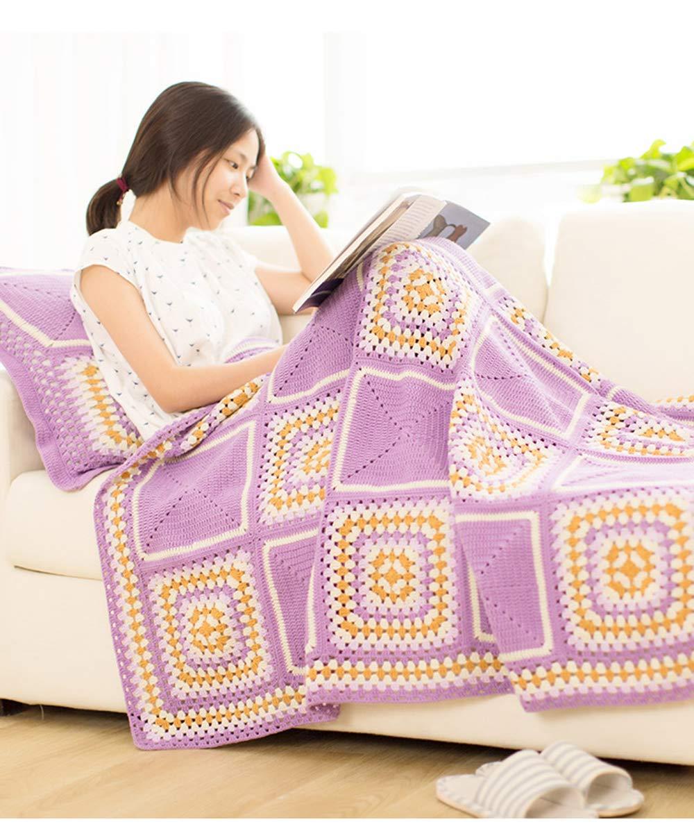 超可爱 毛布 - 綿のDIY手作りのかぎ針編みの織物の毛布の赤ちゃんのスカーフ服編組のライン毛布 Purple、暖かい冬の背景タペストリーDIYソファタオル寝具ブランケット+枕,Purple - B07HC9D31L Purple B07HC9D31L, バイク通販 ファーストオート:8dd331c6 --- diceanalytics.pk