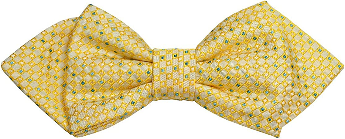 Paul Malone Silk Bow Tie Yellow and Green