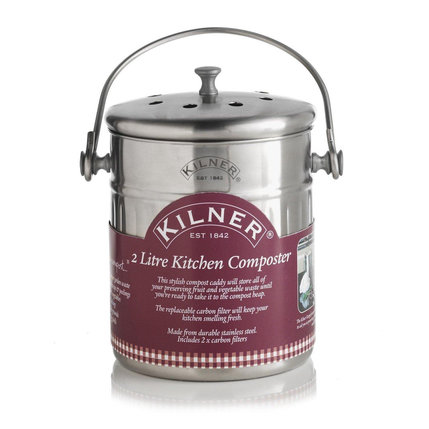 Kilner 0025.416 2 Litre Kitchen Composter, Silver Rayware