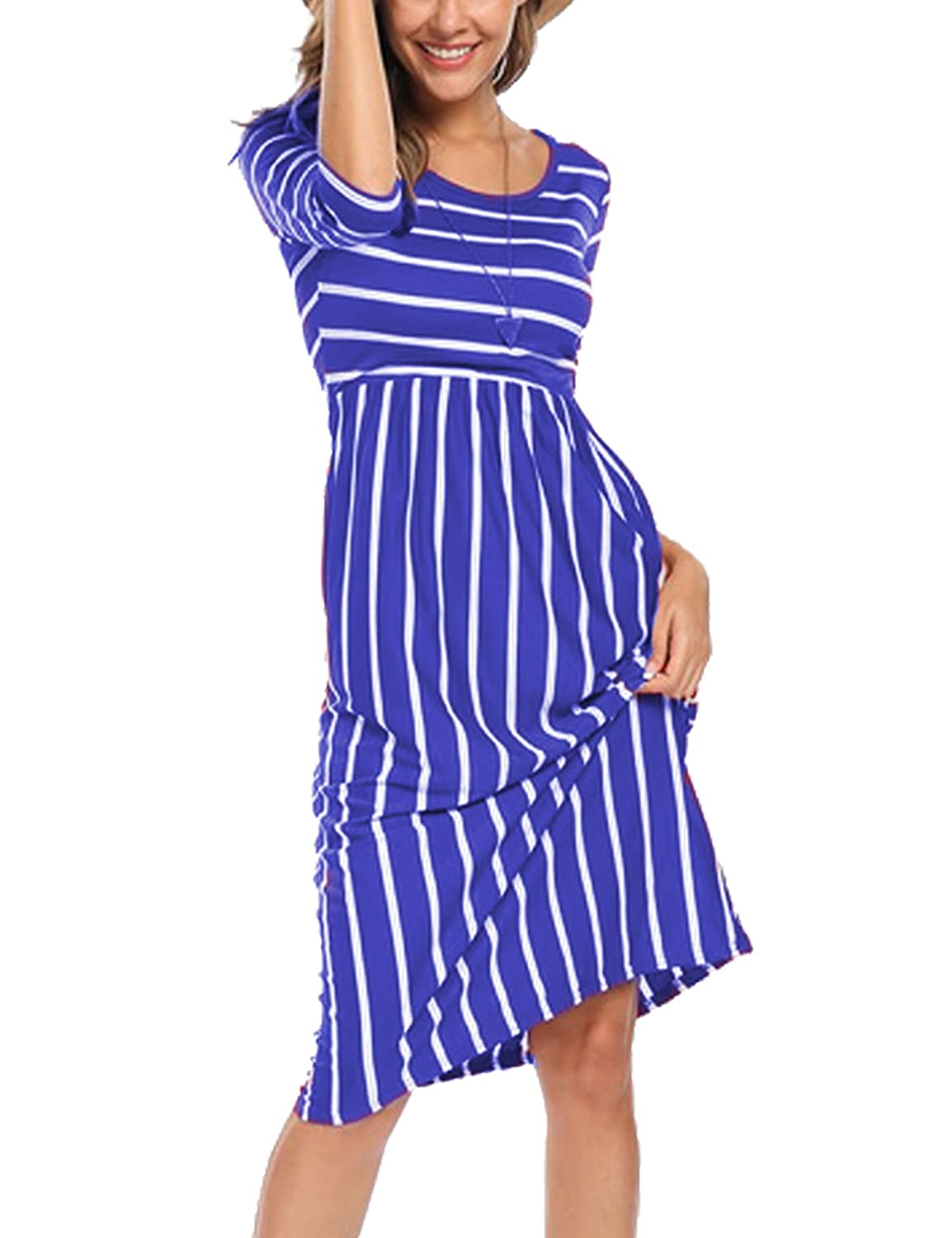 Halife Women's 3 4 Sleeve Stripe Elastic Waist Casual Dress with Pocket v175324f