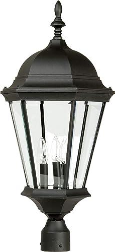 Craftmade Z555-TB Straight Glass Outdoor Pier Mount Post Lighting, 3-Light, 180 Watts, Textured Matte Black 13 W x 28 H