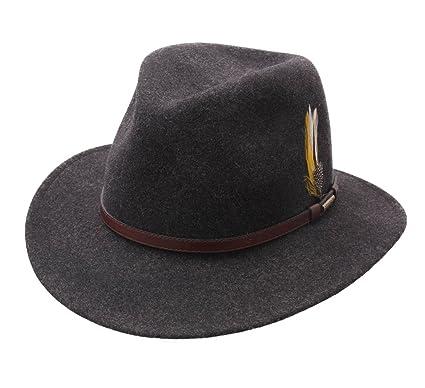 5fb2a681176fe Stetson Men s Traveller VitaFelt Mix Wool Felt Fedora Hat Packable at Amazon  Men s Clothing store