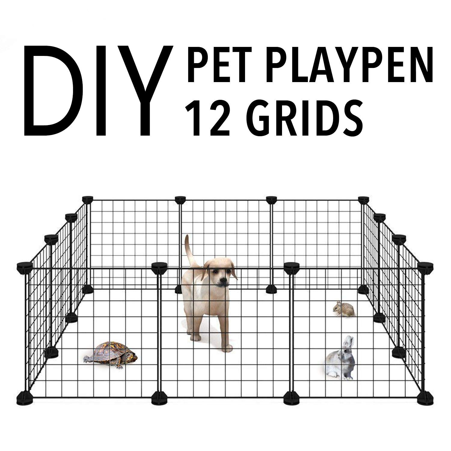 Allisandro Pet Rabbit Bunny Dog Pen Small Animal Playpen Indoor Portable Yard Fence, Puppy Kennel Crate Fence Tent, 13.8x13.8 by Allisandro