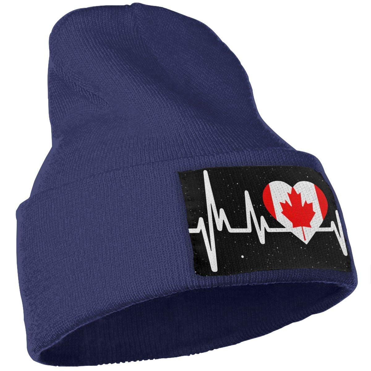 Stretchy /& Soft Winter Ski Skull Cap Canada Heartbeat Flag Men /& Women Solid Color Knit Beanie Hat