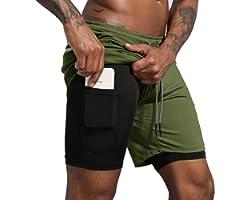 """Leidowei Men's 2 in 1 Workout Running Shorts Lightweight Training Yoga Gym 7"""" Short with Zipper Pockets"""