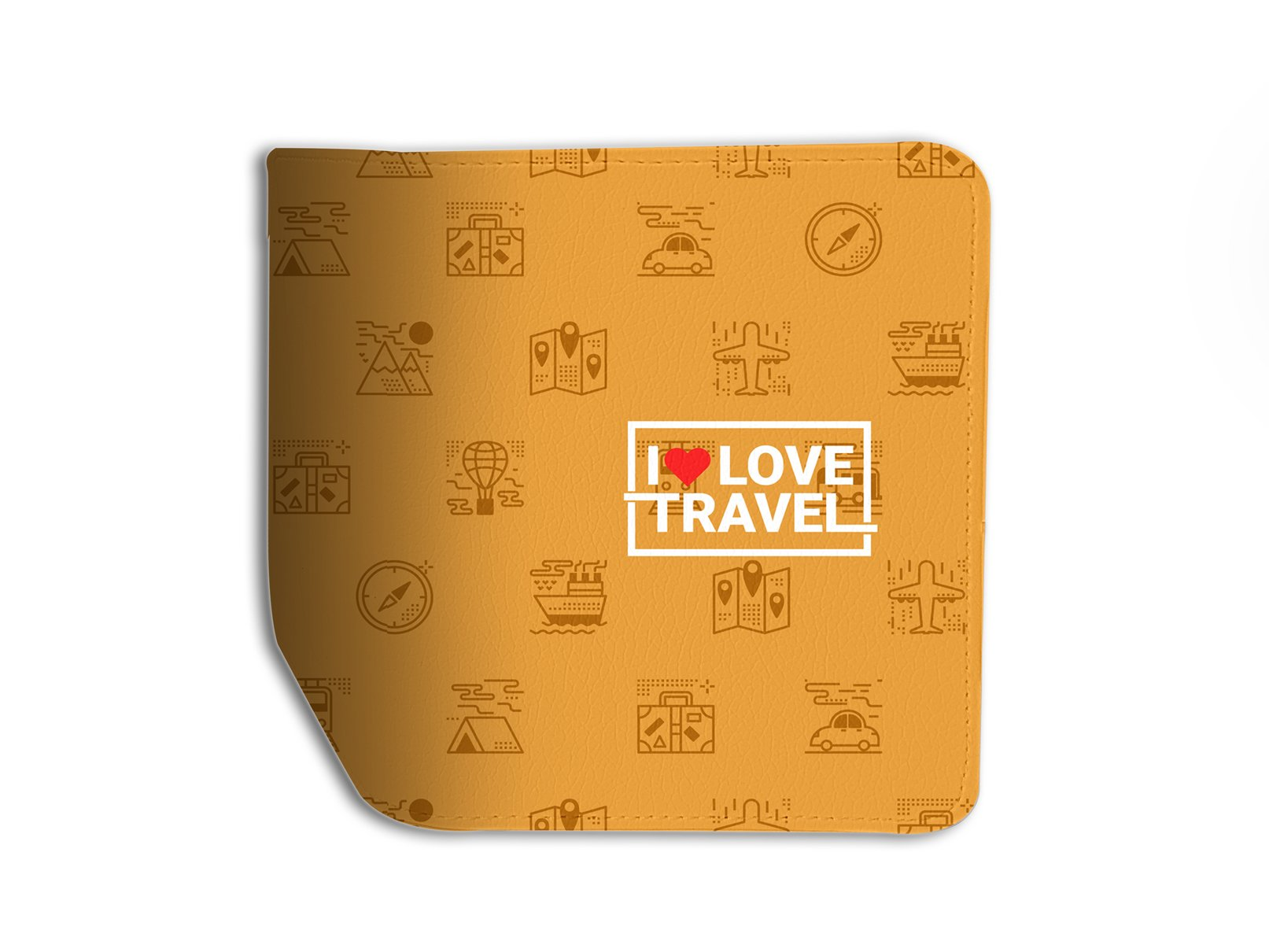 I Love Travel Leather Business ID Passport Holder Protector Cover_SUPERTRAMPshop
