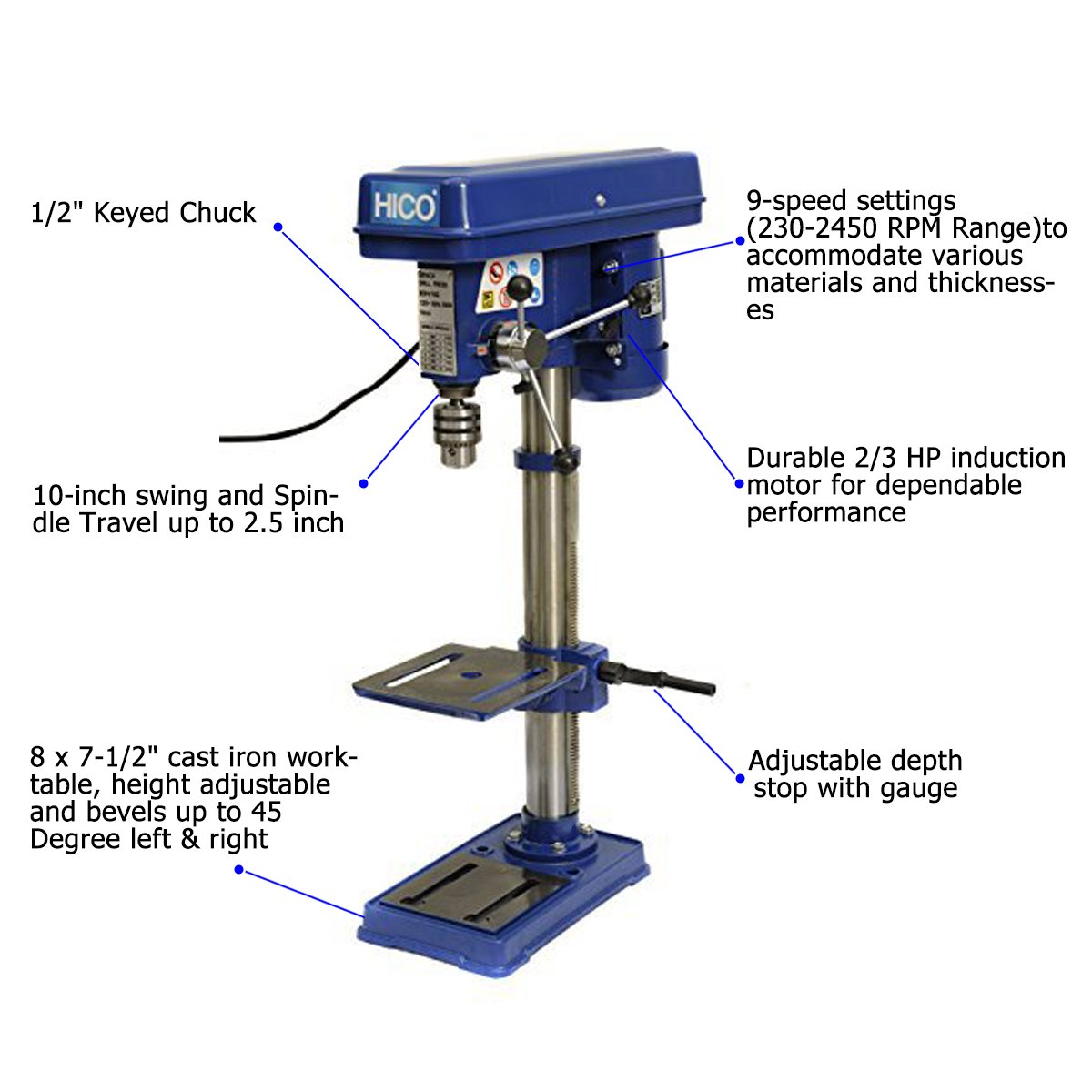 HICO Bench Top Drill Press - 10 Inch Height Adjustable, 9 Speed Motor, Cast Iron Table DP4116