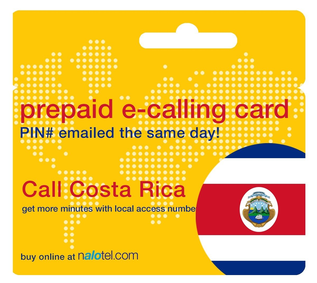 Prepaid Phone Card - Cheap International E-Calling Card $10 for Costa Rica with same day emailed PIN, no postage necessary