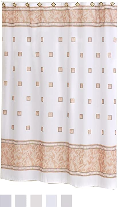Carnation Home Fashions Windsor Fabric Shower Curtain Ivory