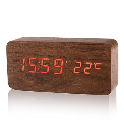 LUOEM Reloj Digital Madera con 3 Alarmas Indicador de ...