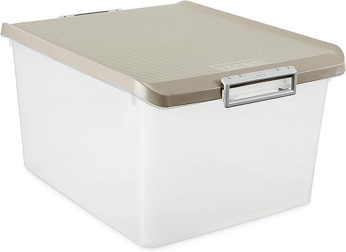 Tatay 1150023 Caja de Almacenamiento Multiusos 35 l de Capacidad plástico Polipropileno Libre de bpa Transparente con Tapa, Marron Taupé, 37,7 x 47,5 x 26 cm: Amazon.es: Hogar
