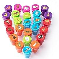 XIAOYAO ShinyWay 26 Fun Stamps, Timbri Giocattolo, Francobolli Animali, Auto Inchiostrazione Plastica Animali per Bambini, 26 Pezzi