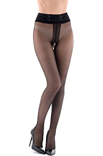 ad6794af5aa3a Miss O Lace Top Open Crotch Pantyhose: Amazon.ca: Clothing & Accessories