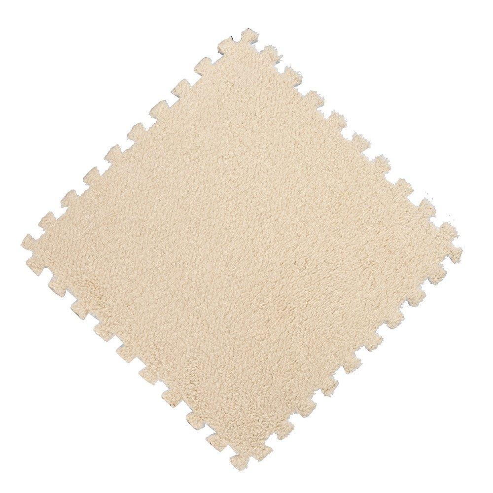 Quaanti 25X25cm Kids Carpet Foam Puzzle Mat EVA Shaggy Velvet Baby Eco Floor 7 Colors 2018 Bathroom Badroom Set Carpet Floor Mats (Beige)