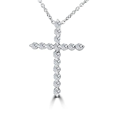 Amazon 38ct real diamond cross pendant white gold necklace 38ct real diamond cross pendant white gold necklace aloadofball Choice Image