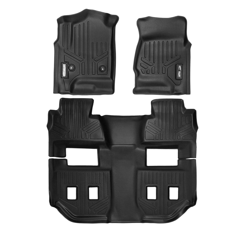 with 2nd Row Bucket Seats MAXFLOORMAT SMARTCOVERAGE Premium Floor Mats 3 Row Set Black for 2015-2018 Chevrolet Suburban//GMC Yukon XL