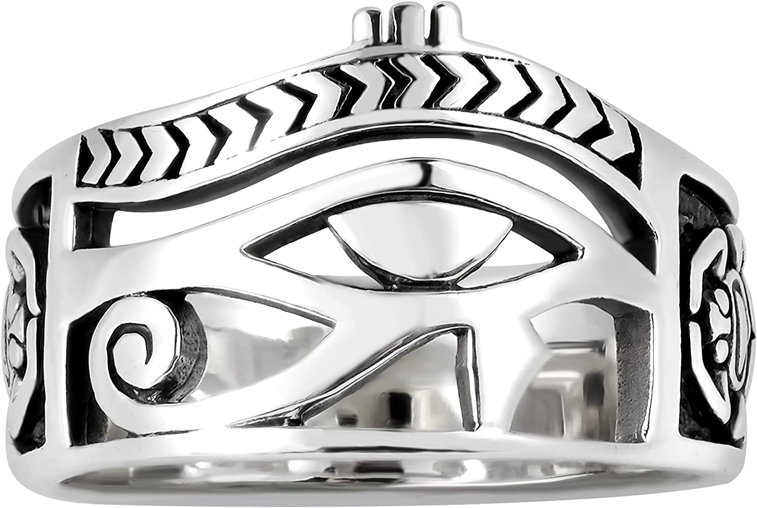 AeraVida Egyptian Eye of Horus Ankh Cross .925 Sterling Silver Ring
