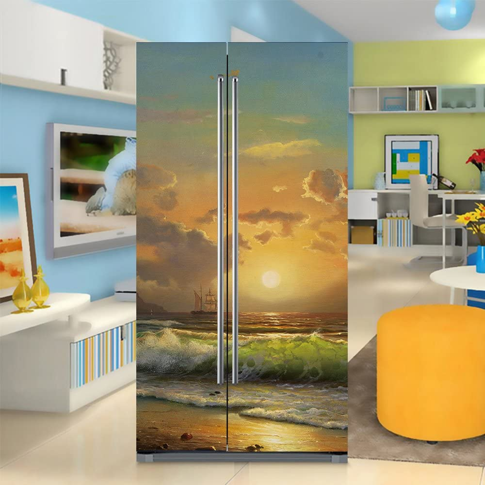 yazi Side-by-Side Refrigerator Full Door Cover Decal Vinyl Removable Sticker Kitchen Art Décor Sunset and Waves 20x71 inches by 2 Pieces