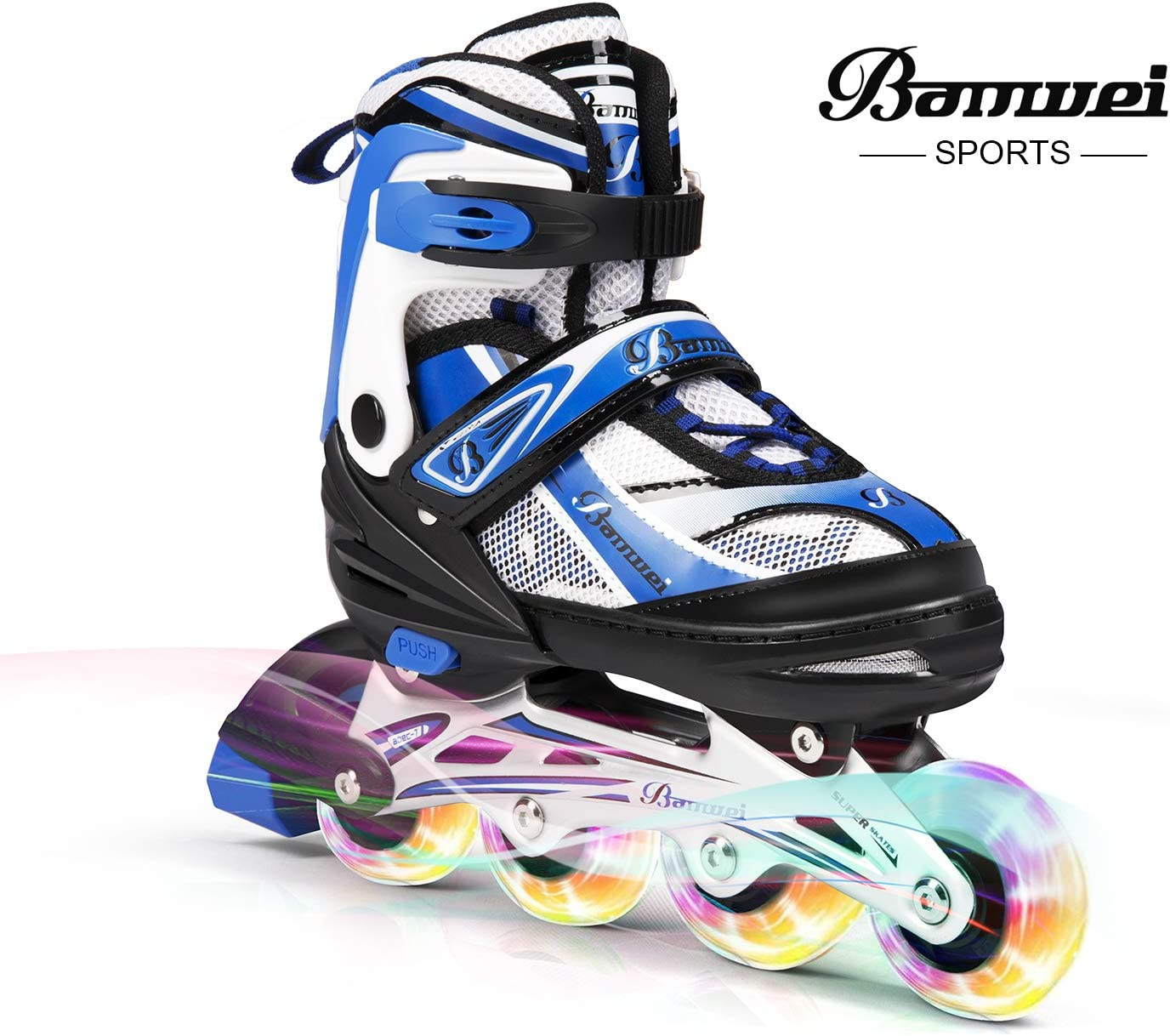 BANWEI SAM Toys Girls Adjustable Inline Skates with Light up Wheels – Beginner Kids Rollerblades Best Gift for Birthday or Christmas