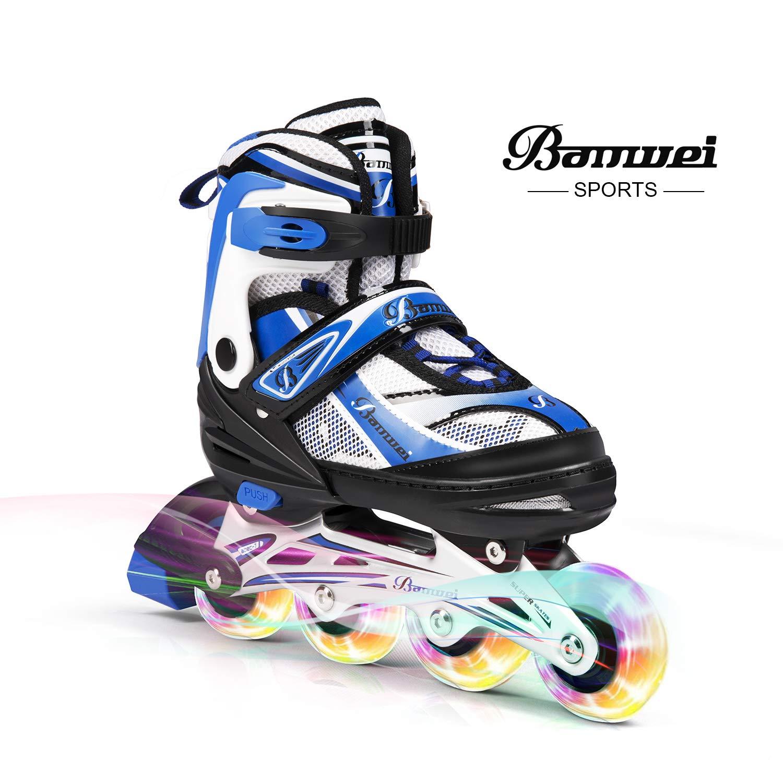 BANWEI SAM Toys Girls Adjustable Inline Skates with Light up Wheels – Beginner Kids Rollerblades Best Gift for Birthday or Christmas