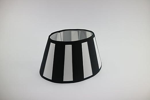 Lampenschirm-oval schwarz-weiss-gestreift konische Form Ø 25cm (15 ...