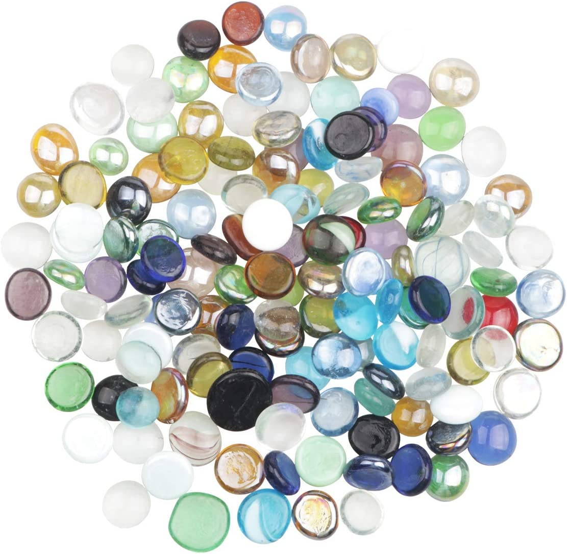 YiYa Color Mezclado Gema de Vidrio Piedras de Cristal Piedra Preciosa de Vidrio para la decoración del hogar llenado de jarrones Decoración del Fondo del Tanque de Pescado(Aproximadamente 310g/bolsa)