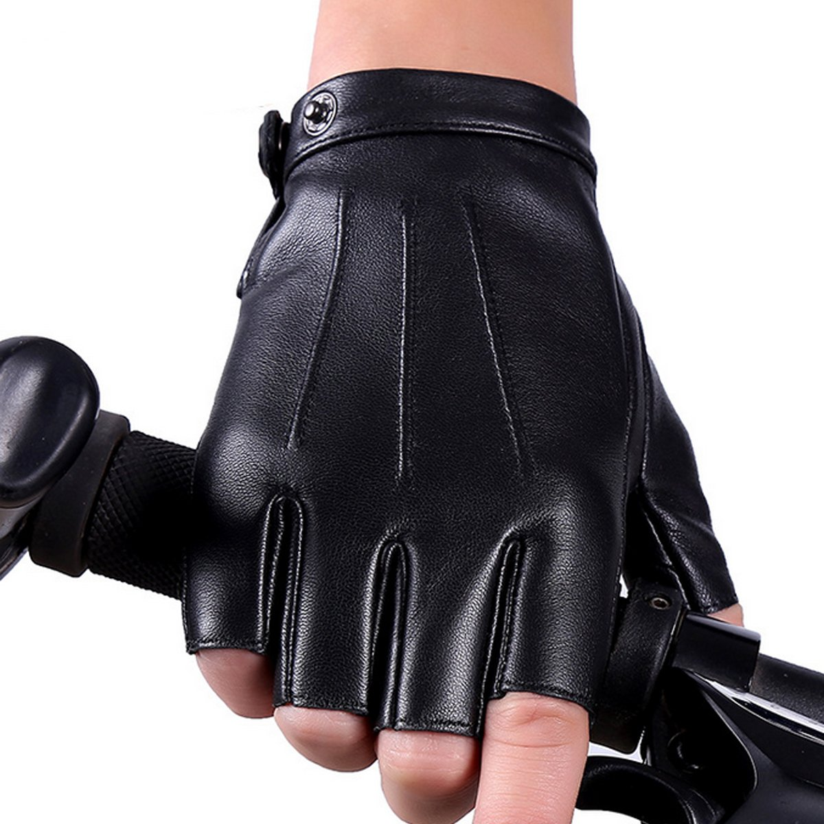 Fingerless Gloves PU Leather Gloves Touchscreen Texting Dress Driving Moto Glove for Men Women Teens (L) by gloveslove (Image #3)