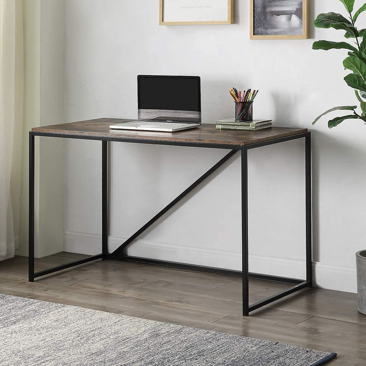 SSLine 46 inch Home Office Computer Desk,Metal and Wood Home Office Desk,Modern Simple Small Desk Laptop Table Study Writing Table for Home Office Style-2