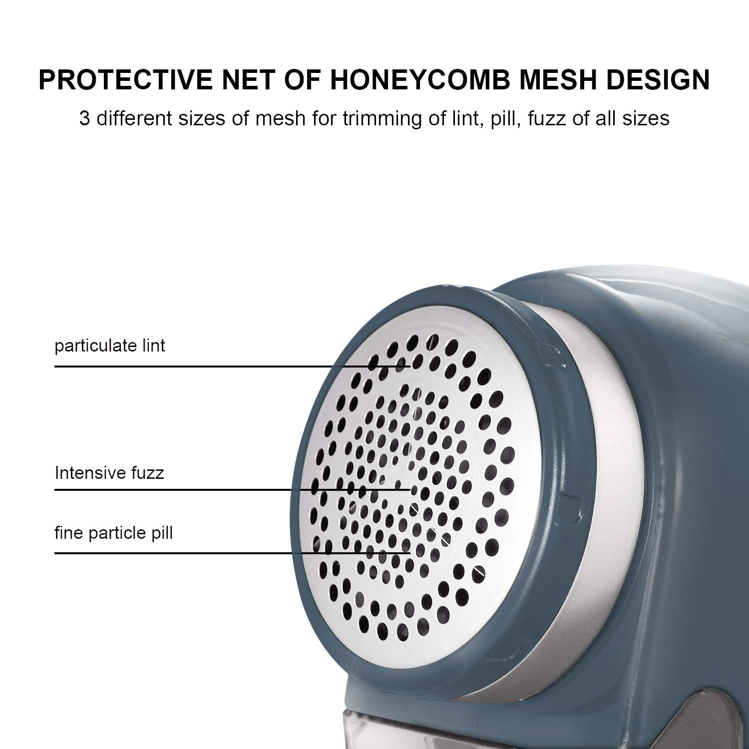 SUPER LINT Professional Electric Sweater Shaver Best Fuzz Pill Bobble Remover for Fabrics, Bedding, Clothes and Furniture, Use with Batteries or Power Adapter, Marine Blue & Silver by SUPER LINT (Image #5)
