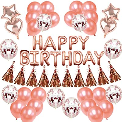 FLYFLY Rose Gold Birthday Decorations Kit with 1 Happy Birthday Banner, 20Pcs Latex balloon, 8pcs Confetti Balloon, 2pc Star foil balloon, 2pcs heart foil balloon,10pcs Paper Tassel, 3pc Ribbons, 1pc stickers for Women Girls