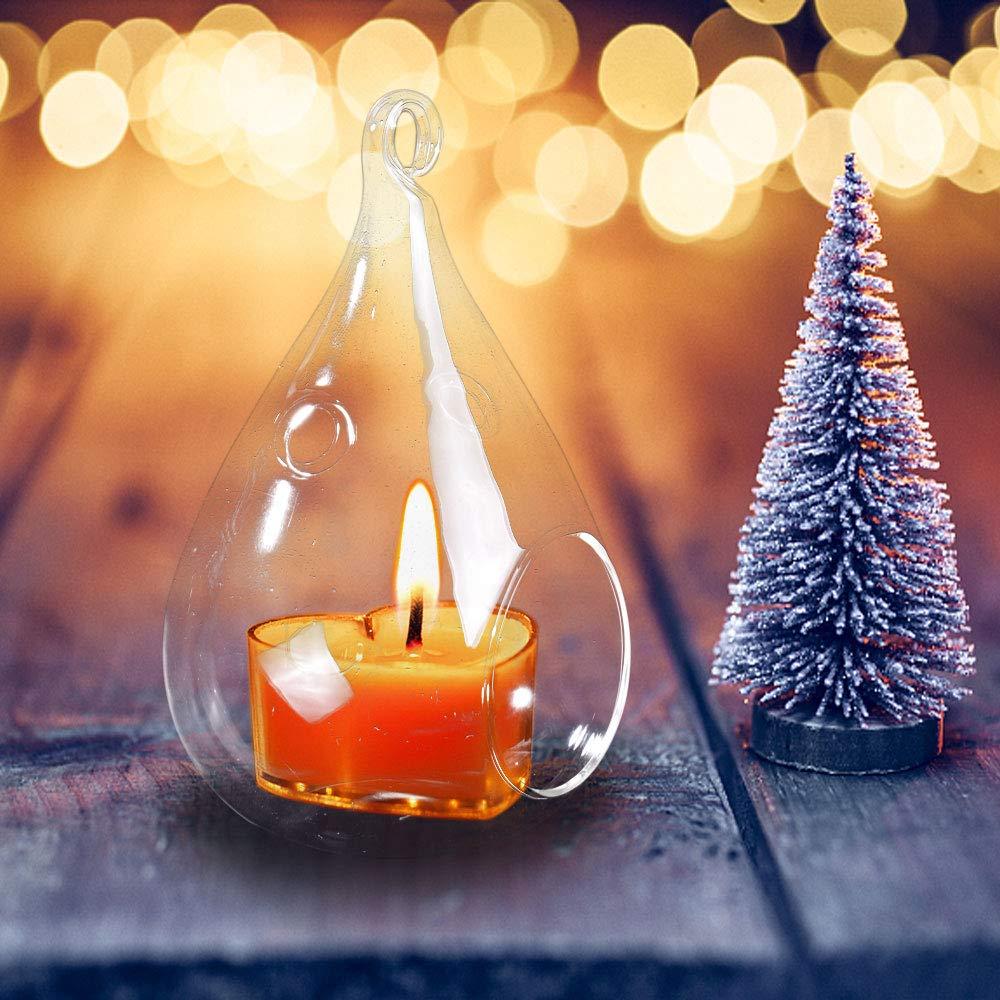 Warmiehomy 6PCS Hanging Teardrop Glass Candle Tea Light Holder
