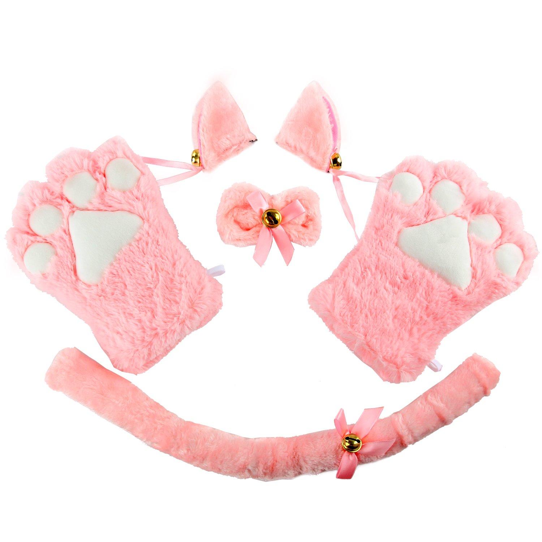 Acecharming 4pcs Cat Cosplay Fancy Costume Neko Anime Costume Lolita Gothic Set 59213