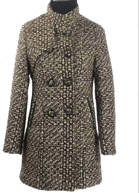 Womens Plaid Coat 2018 Winter Wool Jacket Long Coats for Ladies Woollen Autumn Jackets Korean Thickening Clothes LZ883,Plus Cotton 2,M