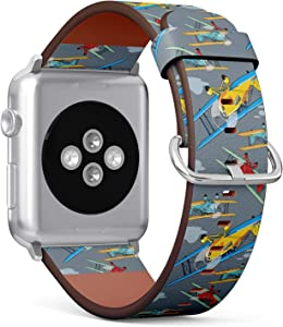 [ Compatible with Big Apple Watch 42mm / 44 mm ] Replacement Leather Band Bracelet Strap Wristband Accessory and Adapters // Retro Airplanes