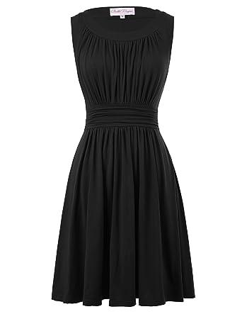 42012da74ce 50s Vintage Crew Neck Swing Dress for Women A line Size S Black BP289-2