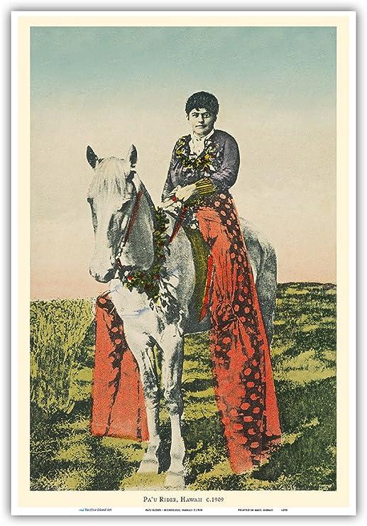 Pa'u Rider - Honolulu, Hawaii - Woman (Wahine) on Horseback - Vintage Hawaiian Hand-Colored Postcard c.1909 - Master Art Print 13in x 19in
