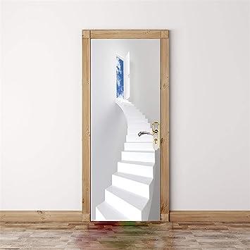 Escalera de caracol blanca Pegatinas en la puerta Foto 3D mural de la puerta desmontable autoadhesivo mural puerta del dormitorio pegatinas oficina pegatinas de pared decoración del hogar 77 * 200cm: Amazon.es:
