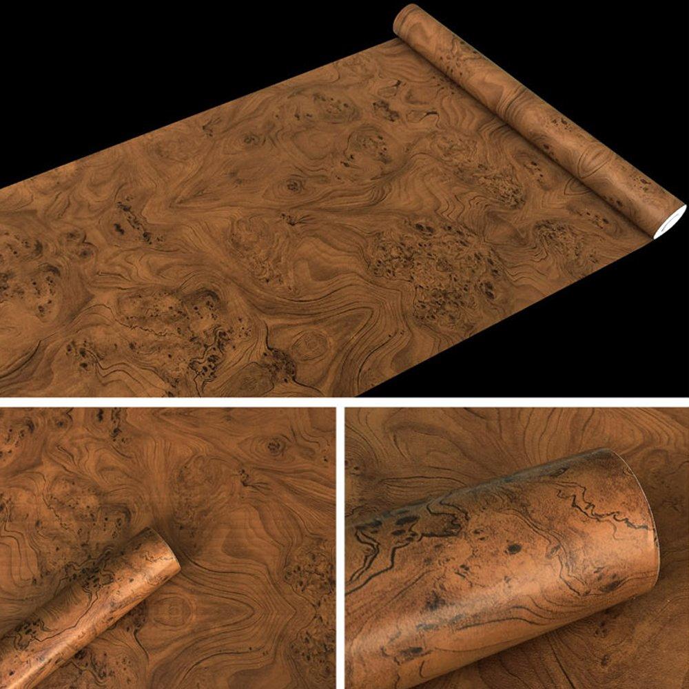 SimpleLife4U Brown Wood Grain Contact Paper PVC Self-Adhesive Shelf Liner Locker Door Sticker 17.7 Inch By 9.8 Feet