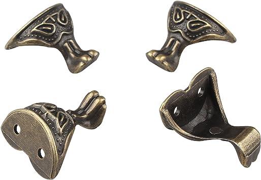 HALJIA 4 piezas de bronce antiguo caja patas esquina protector metal joyería decorativa caja de regalo madera: Amazon.es: Bricolaje y herramientas