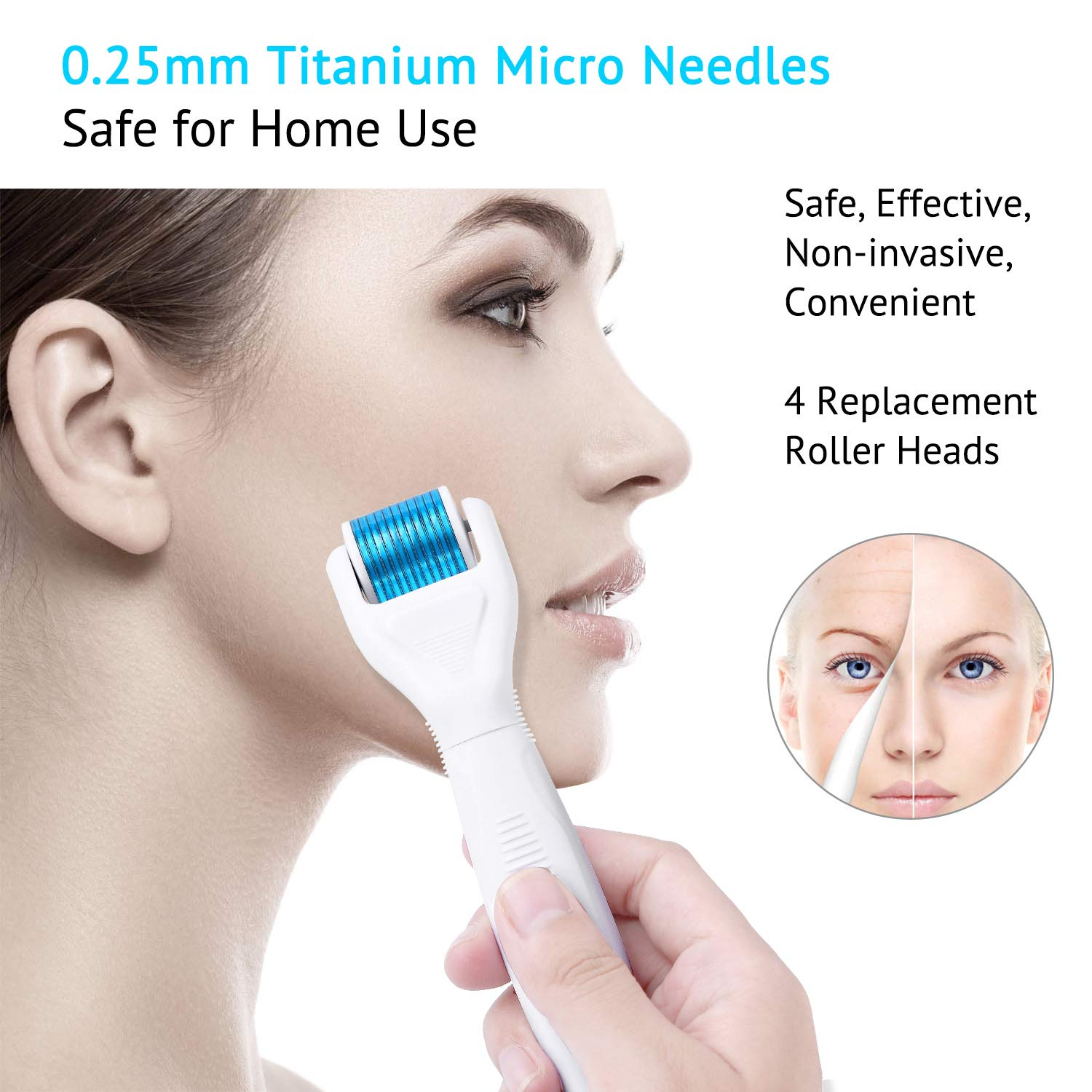 6 in 1 Microneedle Derma Roller .25mm Kit for Face and Body - 300/720/1200 Titanium Dermaroller Micro Needle Facial Roller