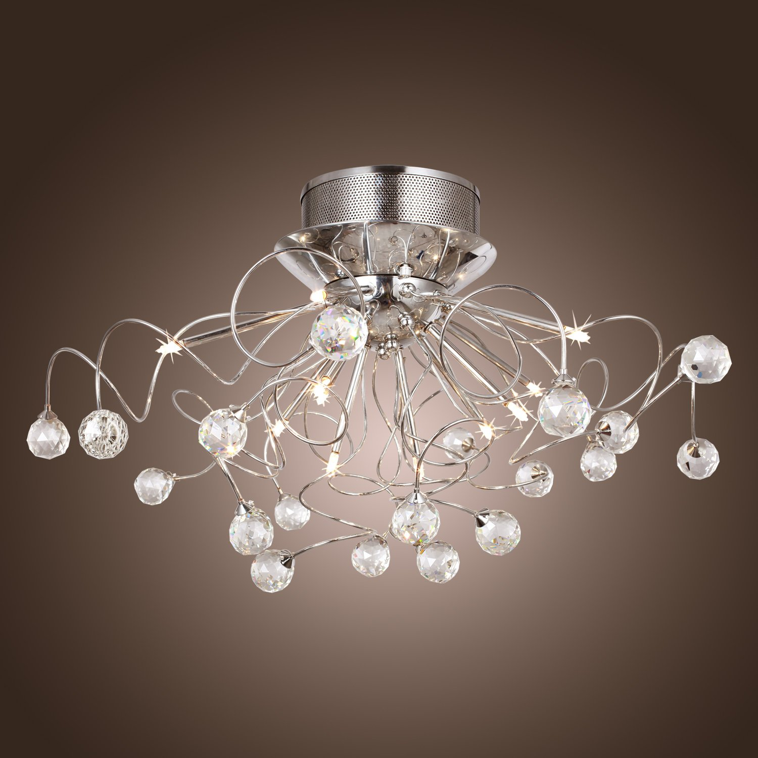 Lightinthebox modern crystal chandelier with 11 lights chrom flush mount chandeliers modern ceiling light fixture for hallway entry bedroom living